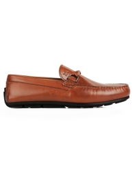 Tan Buckle Moccasins Leather Shoes main shoe image