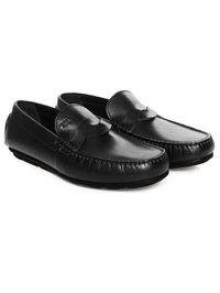 Black Cross Strap Moccasins Leather Shoes alternate shoe image