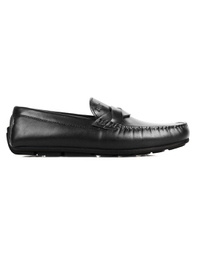 Black Cross Strap Moccasins Leather Shoes main shoe image