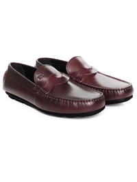 Burgundy Cross Strap Moccasins Leather Shoes alternate shoe image