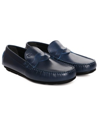 Dark Blue Cross Strap Moccasins Leather Shoes alternate shoe image