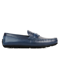 Dark Blue Cross Strap Moccasins Leather Shoes main shoe image