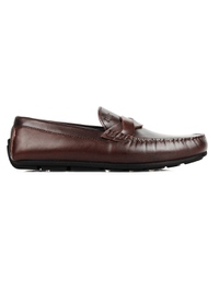 Brown Cross Strap Moccasins Leather Shoes main shoe image