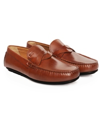 Tan Cross Strap Moccasins Leather Shoes alternate shoe image