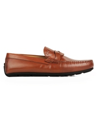 Tan Cross Strap Moccasins main shoe image