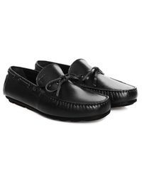 Black Boat Moccasins Leather Shoes alternate shoe image