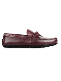 Burgundy Boat Moccasins Leather Shoes main shoe image