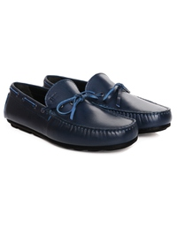 Dark Blue Boat Moccasins Leather Shoes alternate shoe image