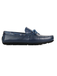 Dark Blue Boat Moccasins Leather Shoes main shoe image