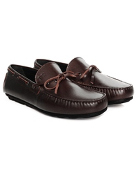 Brown Boat Moccasins Leather Shoes alternate shoe image
