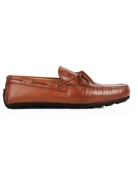 Tan Boat Moccasins Leather Shoes main shoe image