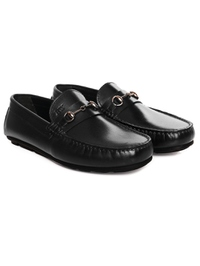Black Horsebit Moccasins Leather Shoes alternate shoe image