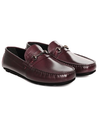 Burgundy Horsebit Moccasins Leather Shoes alternate shoe image