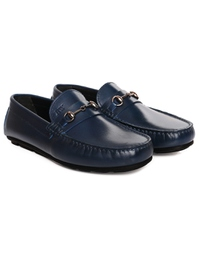 Dark Blue Horsebit Moccasins Leather Shoes alternate shoe image