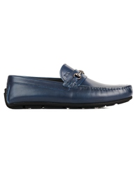 Dark Blue Horsebit Moccasins Leather Shoes main shoe image