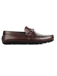 Brown Horsebit Moccasins Leather Shoes main shoe image
