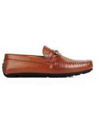 Tan Horsebit Moccasins Leather Shoes main shoe image