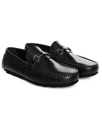 Black Metalstrap Moccasins Leather Shoes alternate shoe image