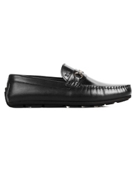 Black Metalstrap Moccasins Leather Shoes main shoe image