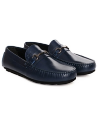 Dark Blue Metalstrap Moccasins Leather Shoes alternate shoe image
