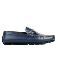 Dark Blue Metalstrap Moccasins Leather Shoes main shoe image