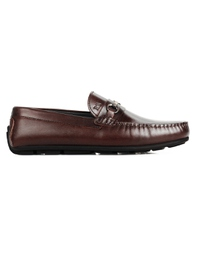 Brown Metalstrap Moccasins Leather Shoes main shoe image