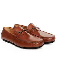 Tan Metalstrap Moccasins Leather Shoes alternate shoe image