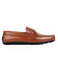 Tan Metalstrap Moccasins Leather Shoes main shoe image