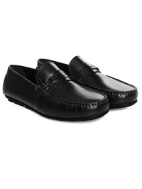 Black Saddle Buckle Moccasins Leather Shoes alternate shoe image