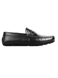 Black Saddle Buckle Moccasins Leather Shoes main shoe image