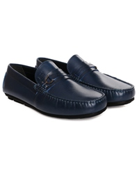 Dark Blue Saddle Buckle Moccasins Leather Shoes alternate shoe image