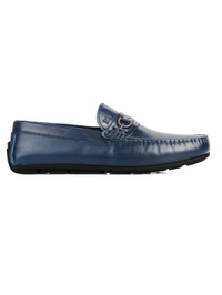 Dark Blue Saddle Buckle Moccasins Leather Shoes main shoe image