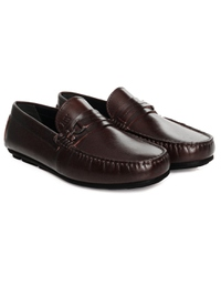 Brown Saddle Buckle Moccasins Leather Shoes alternate shoe image