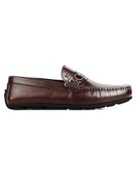 Brown Saddle Buckle Moccasins Leather Shoes main shoe image