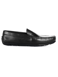 Black Plain Apron Moccasins Leather Shoes main shoe image