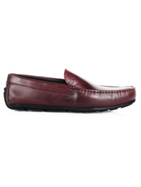 Burgundy Plain Apron Moccasins Leather Shoes main shoe image