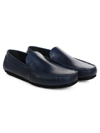 Dark Blue Plain Apron Moccasins Leather Shoes alternate shoe image