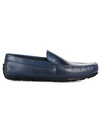Dark Blue Plain Apron Moccasins Leather Shoes main shoe image