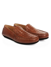 Tan Plain Apron Moccasins Leather Shoes alternate shoe image