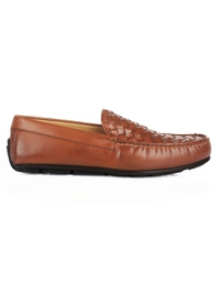Tan Plain Apron Moccasins Leather Shoes main shoe image