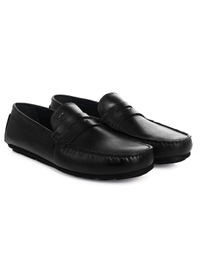 Black Penny Loafer Moccasins Leather Shoes alternate shoe image