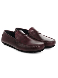 Burgundy Penny Loafer Moccasins Leather Shoes alternate shoe image