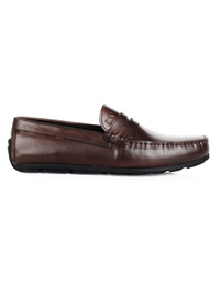 Brown Penny Loafer Moccasins Leather Shoes main shoe image