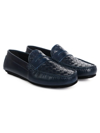 Dark Blue Penny Loafer Moccasins Leather Shoes alternate shoe image