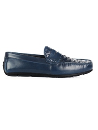 Dark Blue Penny Loafer Moccasins Leather Shoes main shoe image