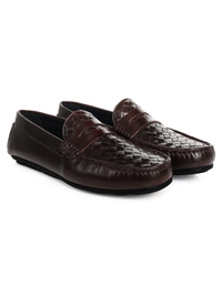 Brown Penny Loafer Moccasins Leather Shoes alternate shoe image