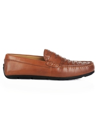 Tan Penny Loafer Moccasins main shoe image