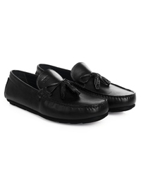Black Tassel Moccasins Leather Shoes alternate shoe image