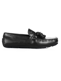 Black Tassel Moccasins Leather Shoes main shoe image