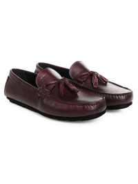 Burgundy Tassel Moccasins Leather Shoes alternate shoe image